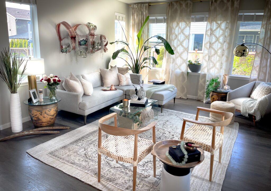 Cozy Home decor showing living room design.