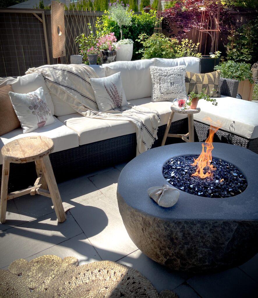 Convert a yard into a garden living room set up.