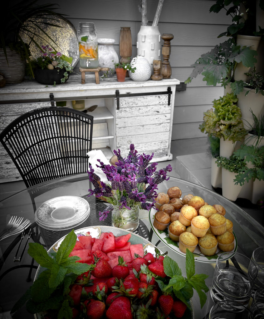Convert a yard into a garden 1.  Table setting for a gathering with fruit.