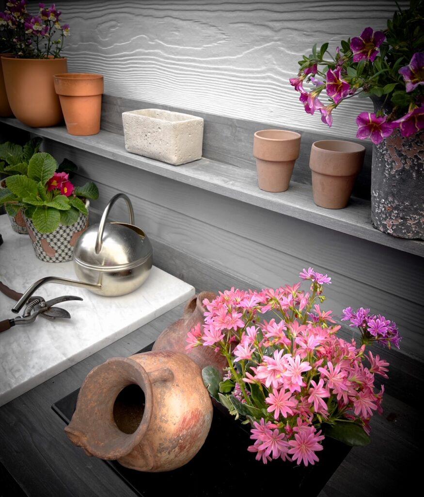 Favorite gardening Tools 25. Favorite garden bench close up view