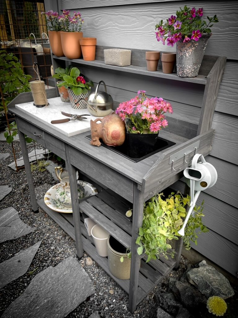 Favorite gardening Tools 24. Favorite potting bench showing the entire piece