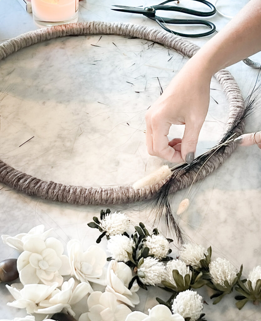 Placing Grass on yarn